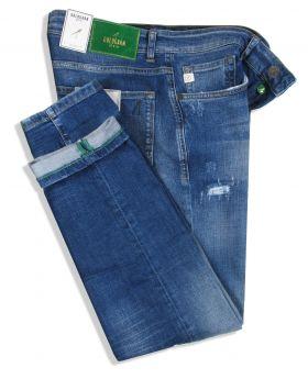 Goldgarn Herren Jeans U2 1090 Slim Fit midblue distressed
